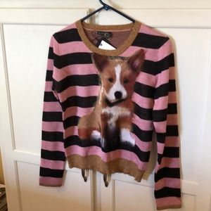 NWT Anthropology Troubadour Corgi Stripe Sweater M